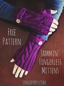Jammin' Fingerless Mittens- FREE PATTERN at Songbyrdy.com