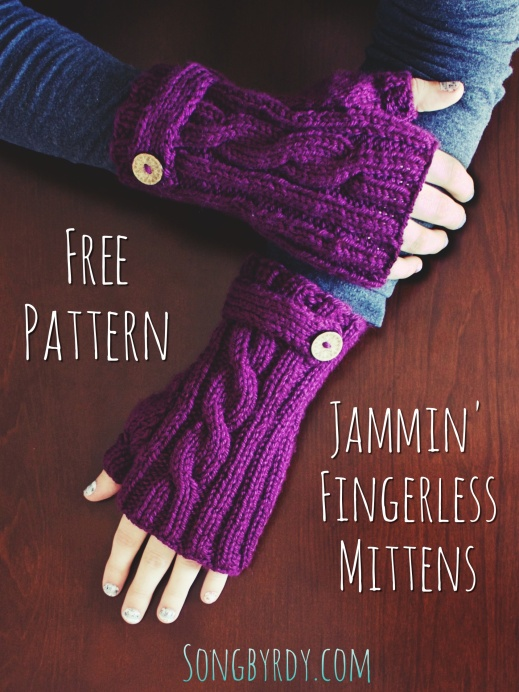 Songbyrdy.com - Free Pattern for Jammin' Fingerless Mittens!